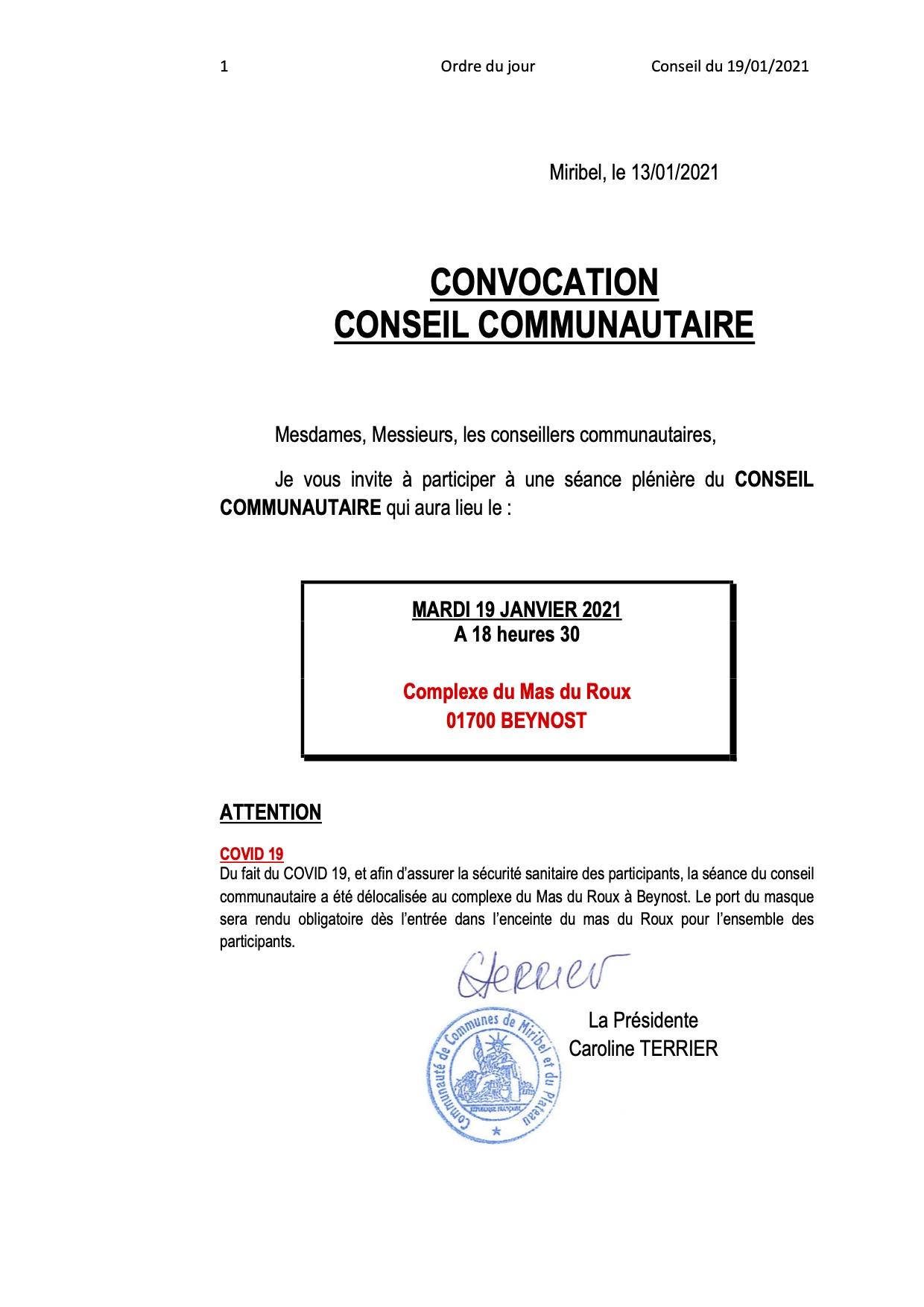 Convocation Conseil Communautaire