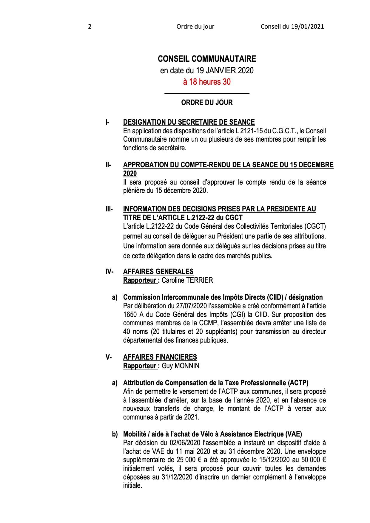 Ordre du jour du Conseil Communautaire