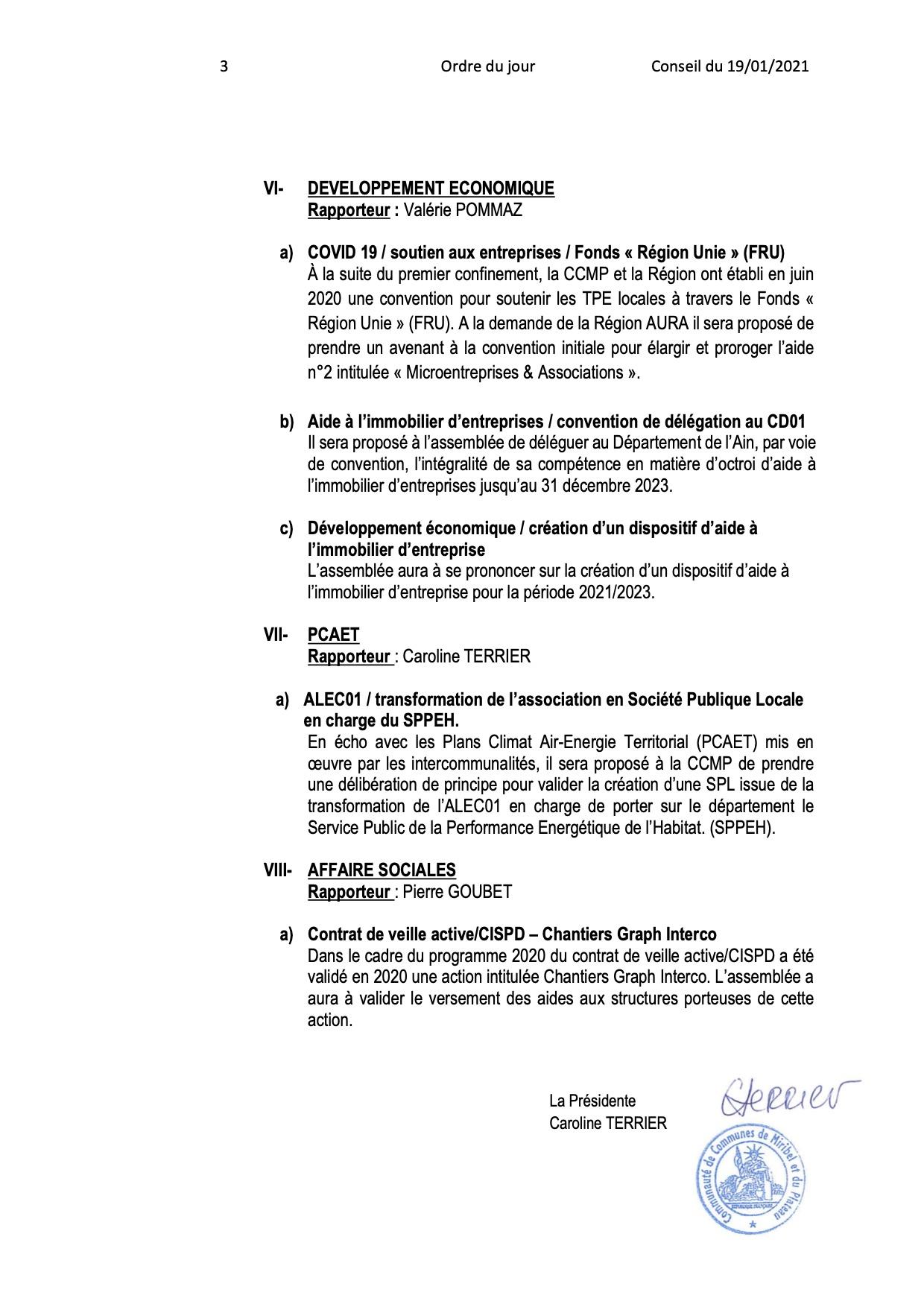 Ordre du jour du Conseil Communautaire (suite)