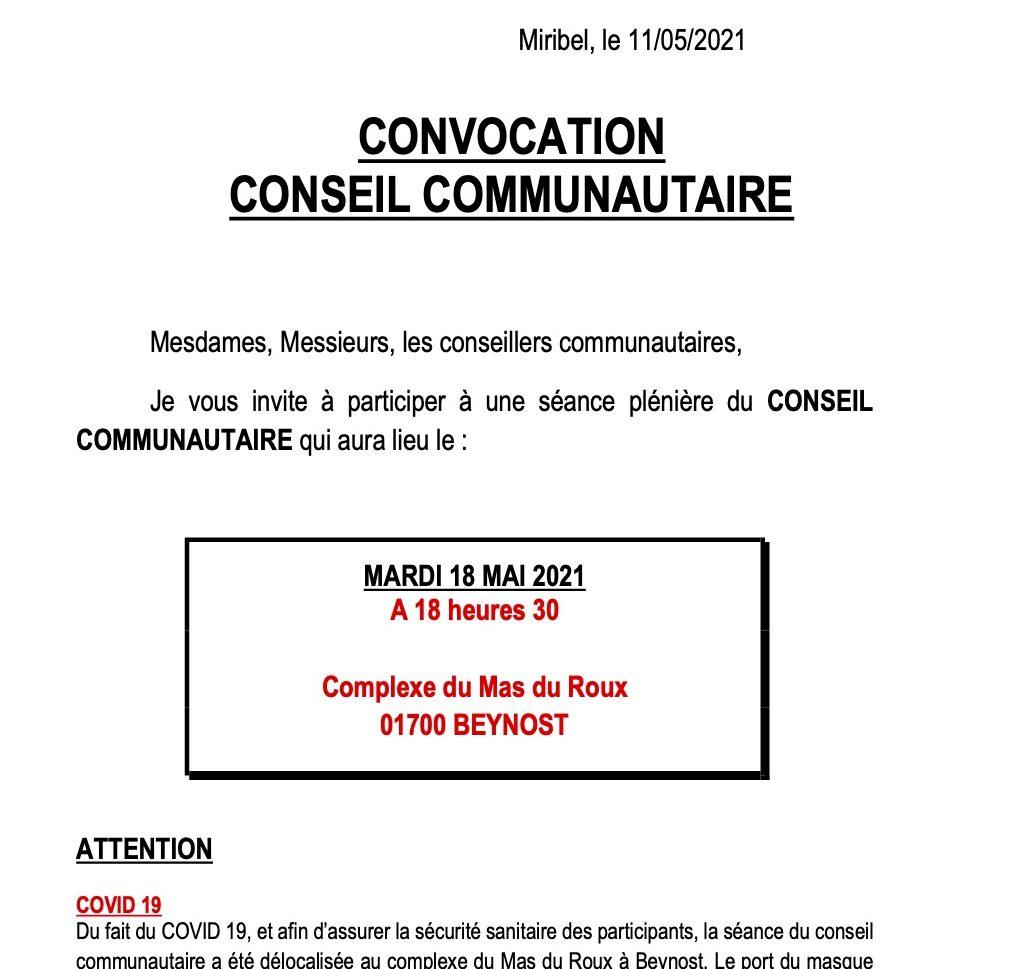 Convocation Conseil Communautaire le mardi 15 juin 2021
