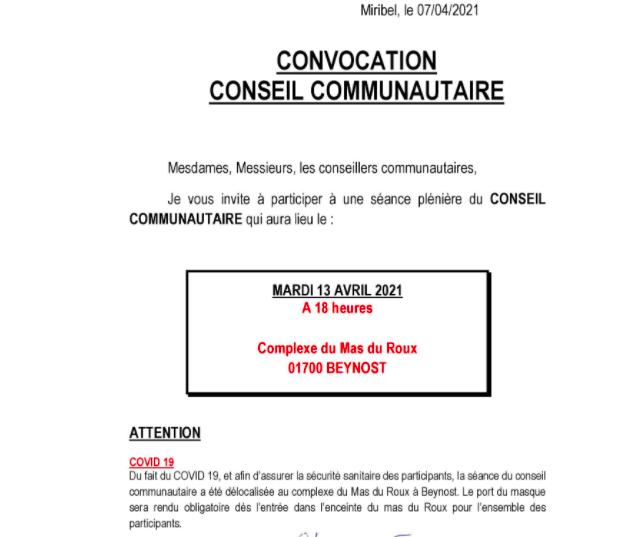 Convocation Conseil Communautaire le mardi 13 avril 2021