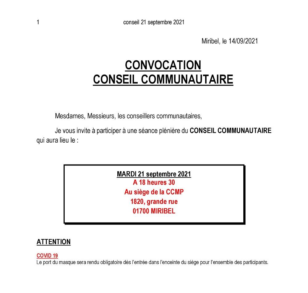 Convocation Conseil Communautaire le mardi 21 septembre